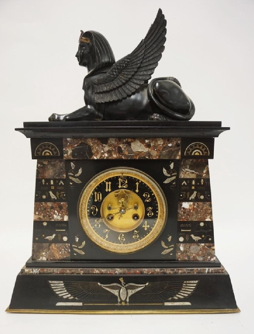 FRENCH EGYPTIAN REVIVAL MARBLE AND BRONZE CLOCK. A
