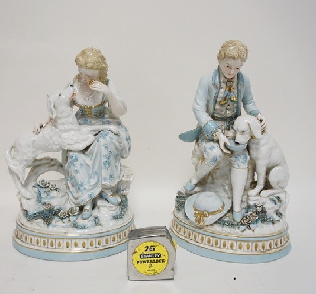 PAIR OF LARGE PORCELAIN FIGURES DEPICTING A MAN AND A