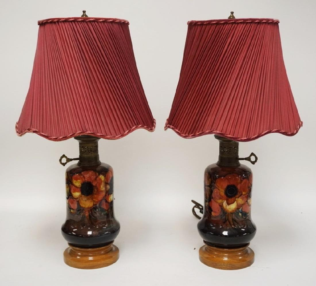 PAIR OF ORIGINAL MOORCROFT *ANEMONE* ART POTTERY LAMPS.