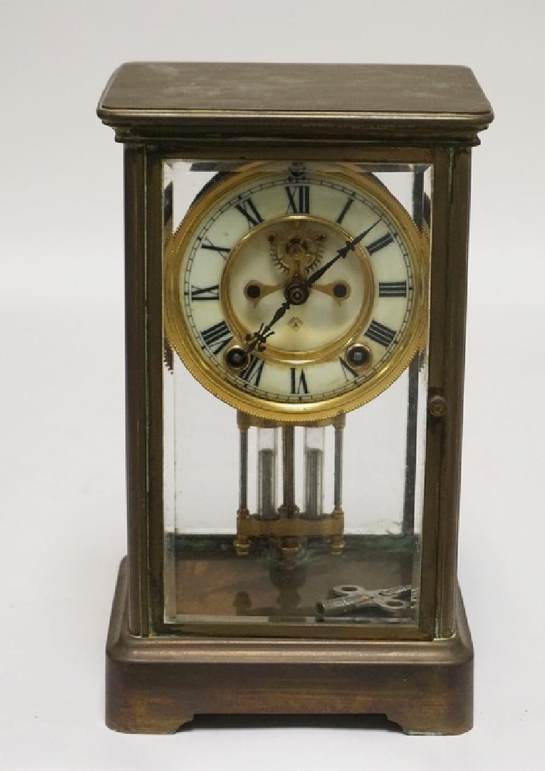ANSONIA CRYSTAL REGULATOR CLOCK WITH A BRASS CASE. 10