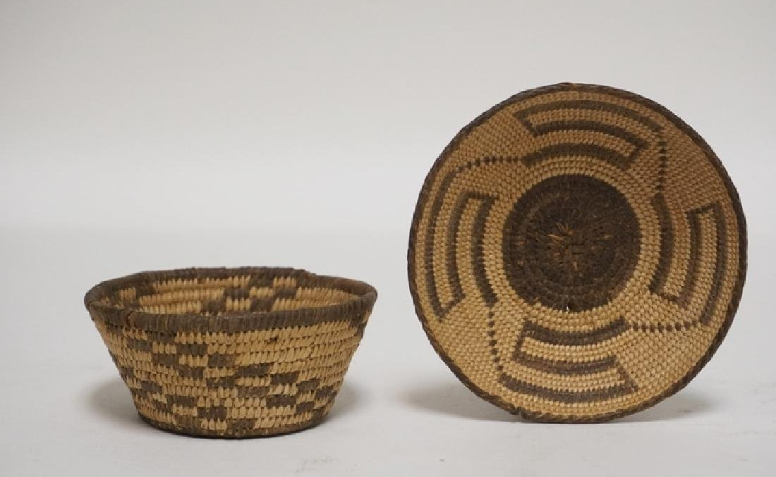 LOT OF 2 NATIVE AMERICAN INDIAN WOVEN BASKETS. LARGEST