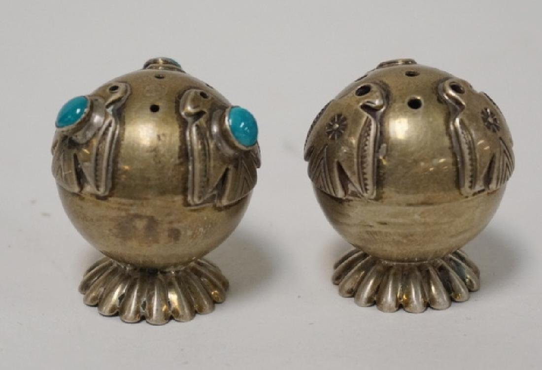 PAIR OF SILVER BALL FORM SALT & PEPPER SHAKERS. ONE