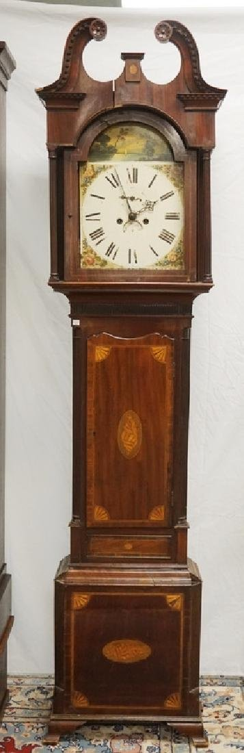 ANTIQUE MAHOGANY TALL CASE CLOCK WITH SHELL AND FAN