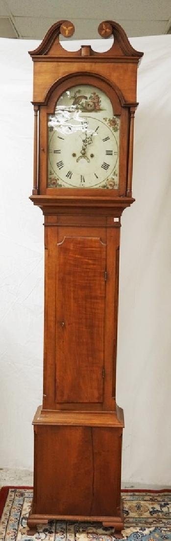 ANTIQUE CHERRY TALL CASE CLOCK. LINE INLAID ON THE