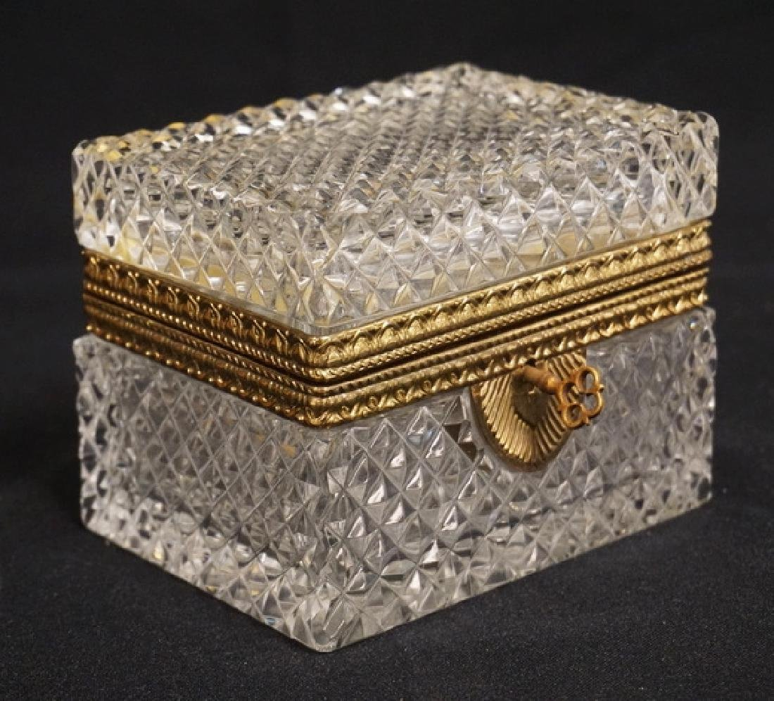 CUT CRYSTAL BOX WITH A BRASS FRAME, LOCK, AND KEY. 4