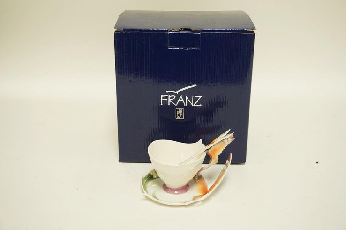 FRANZ PORCELAIN BUTTERFLY PATTERN CUP, SAUCER, AND