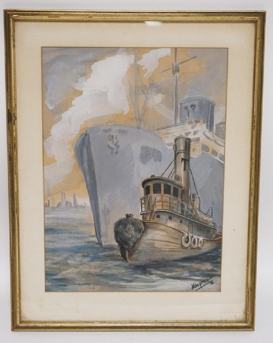 WATERCOLOR SIGNED *MACPHAIL* OF A LARGE SHIP AND A