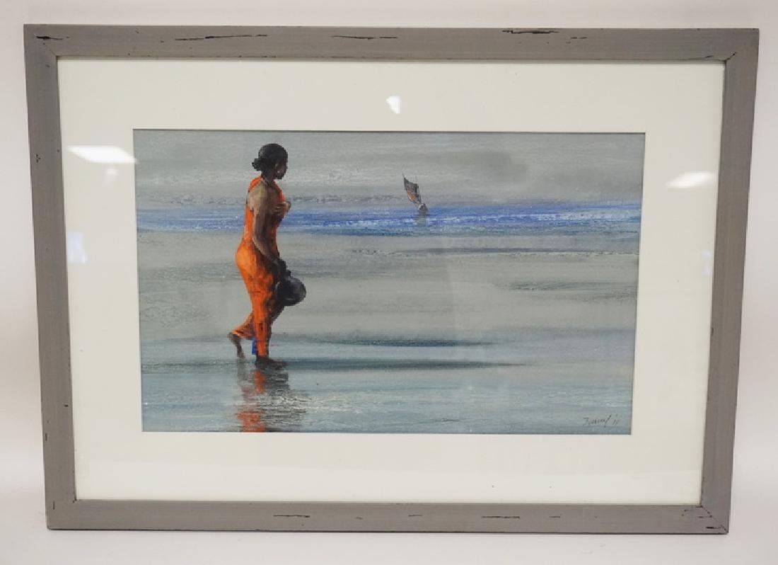 PAINTING IN PAPER OF A WOMAN ON A BEACH LOOKING OUT TO