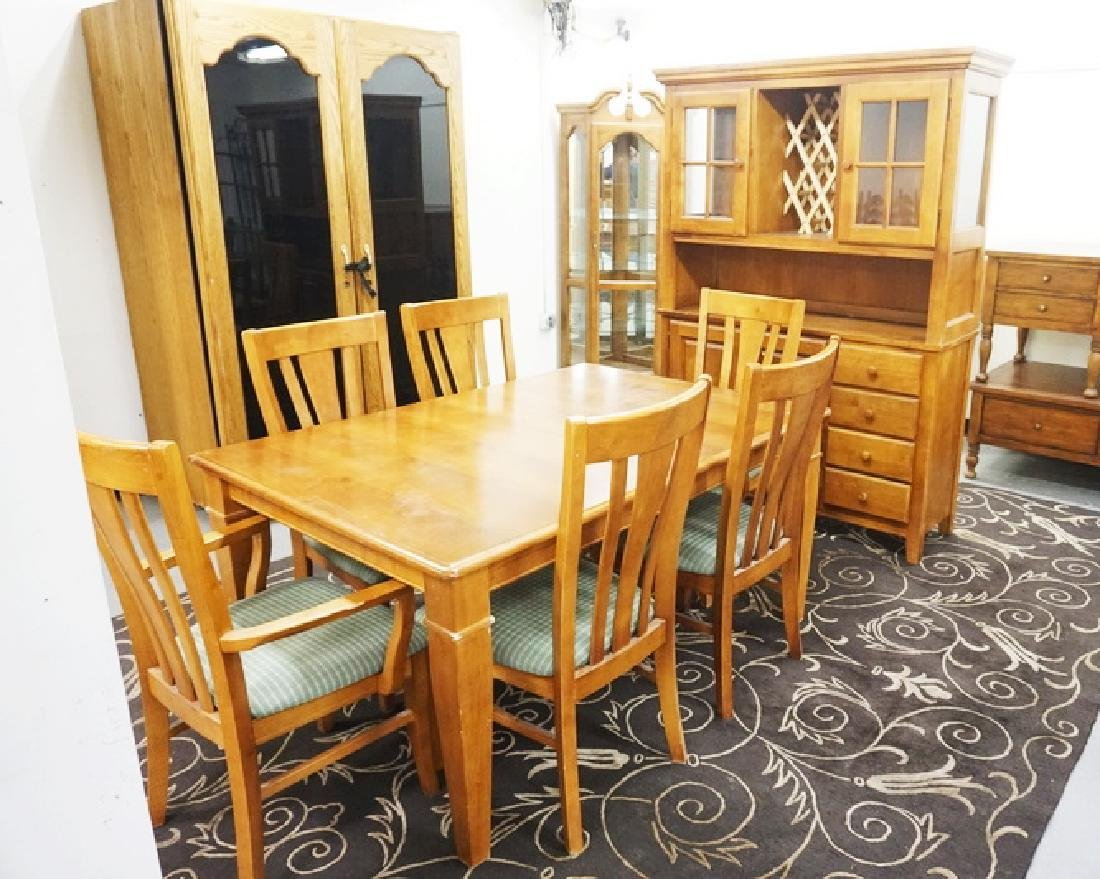 8 PIECE DINING ROOM SET. TABLE, 6 CHAIRS, AND A CHINA