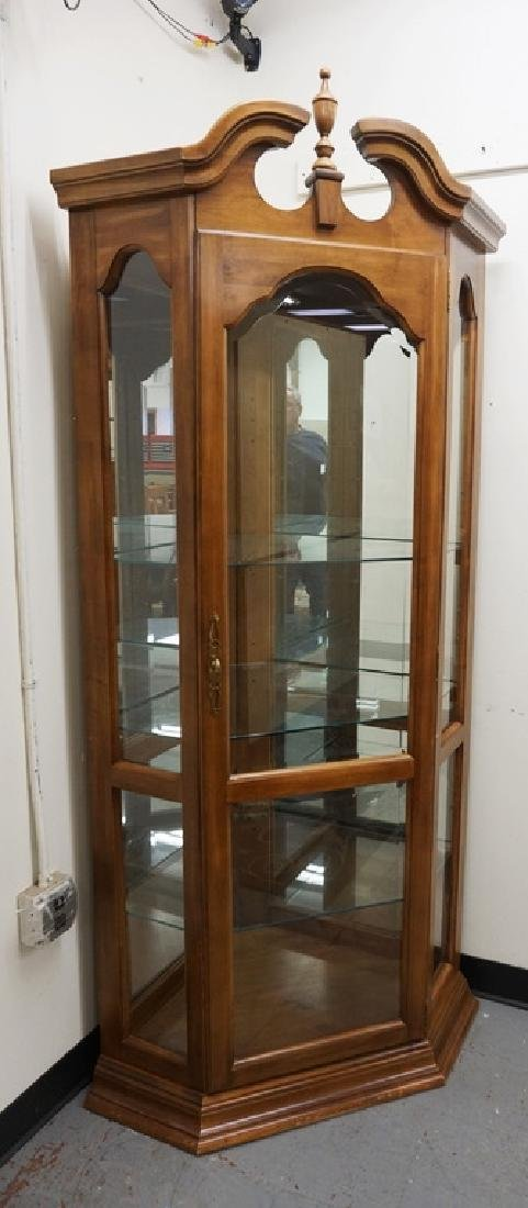 CORNER CURIO CABINET WITH GLASS SHELVES, A MIRRORED