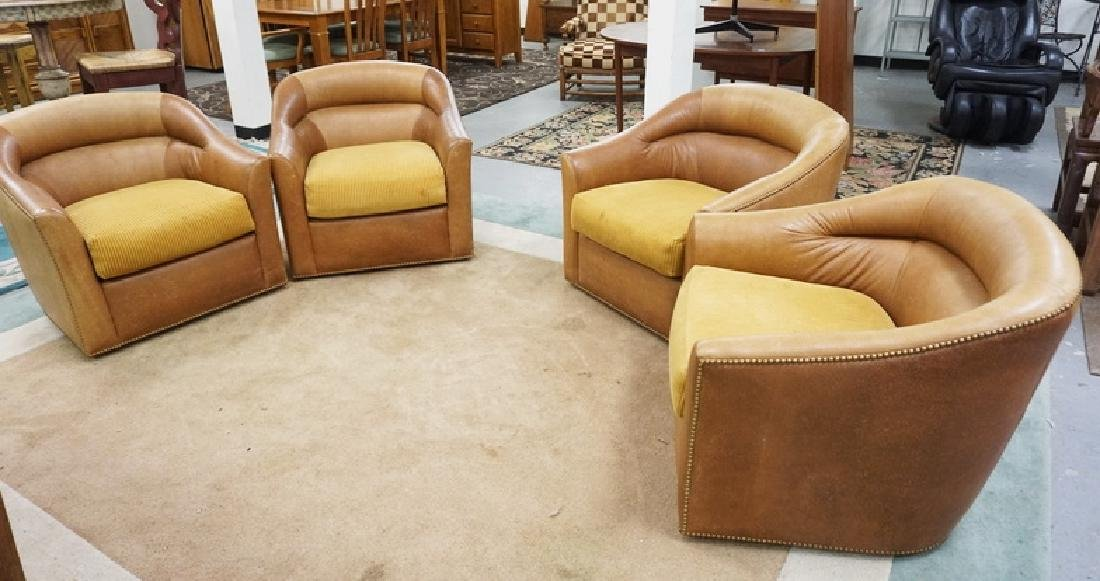 4 LEATHER LOUNGE CHAIRS WITH WESTERN PATTERNED LEATHER