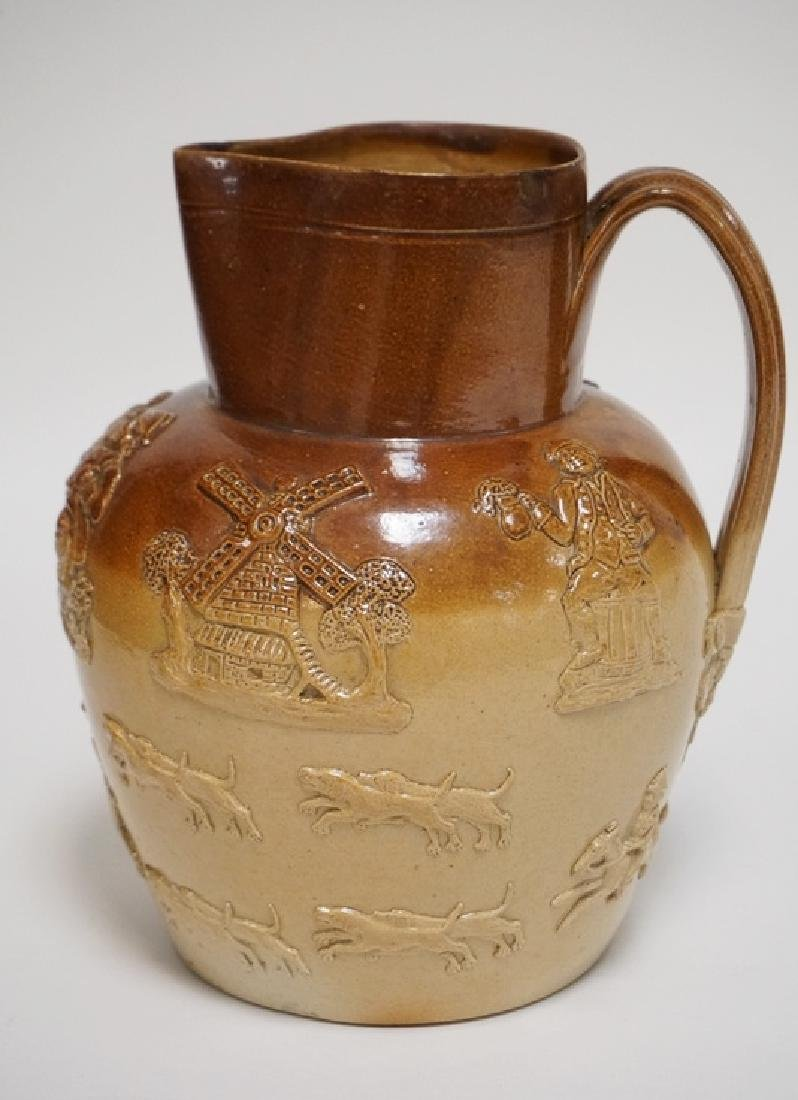 DOULTON LAMBETH PITCHER DECORATED WITH DOGS, DEER, A