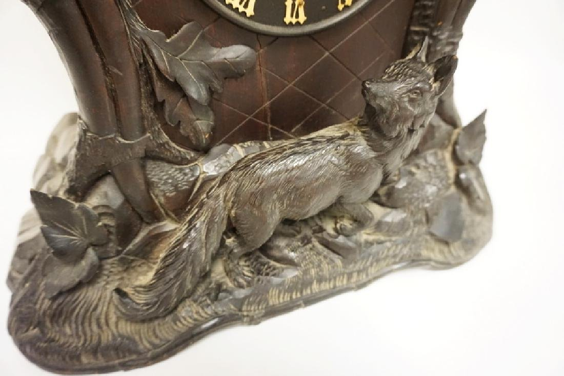 HEAVILY CARVED BLACK FOREST WALNUT CLOCK WITH BIRD, - 2