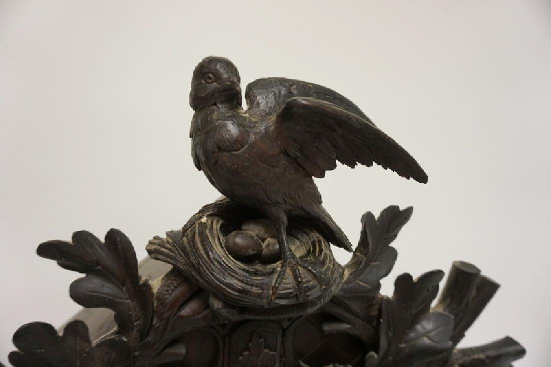 HEAVILY CARVED BLACK FOREST WALNUT CLOCK WITH BIRD, - 3
