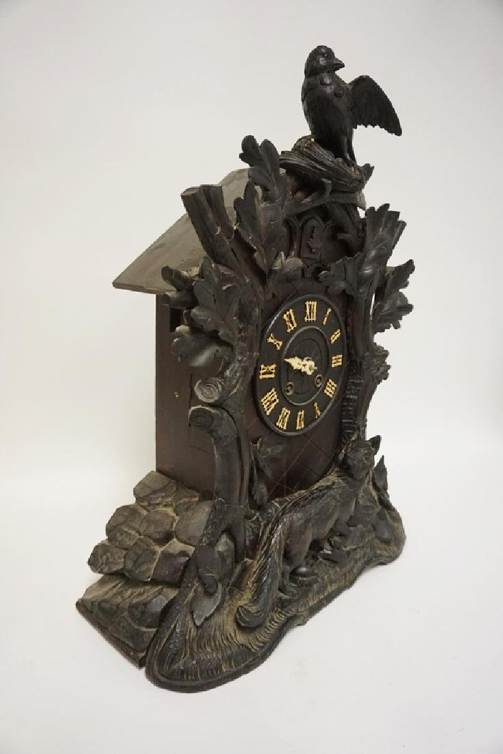 HEAVILY CARVED BLACK FOREST WALNUT CLOCK WITH BIRD, - 4