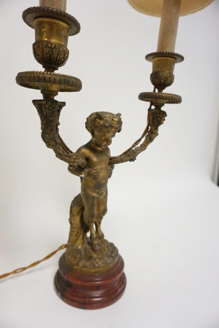 BRONZE FIGURAL 2 LIGHT LAMP. SATYR ON A RED MARBLE - 2