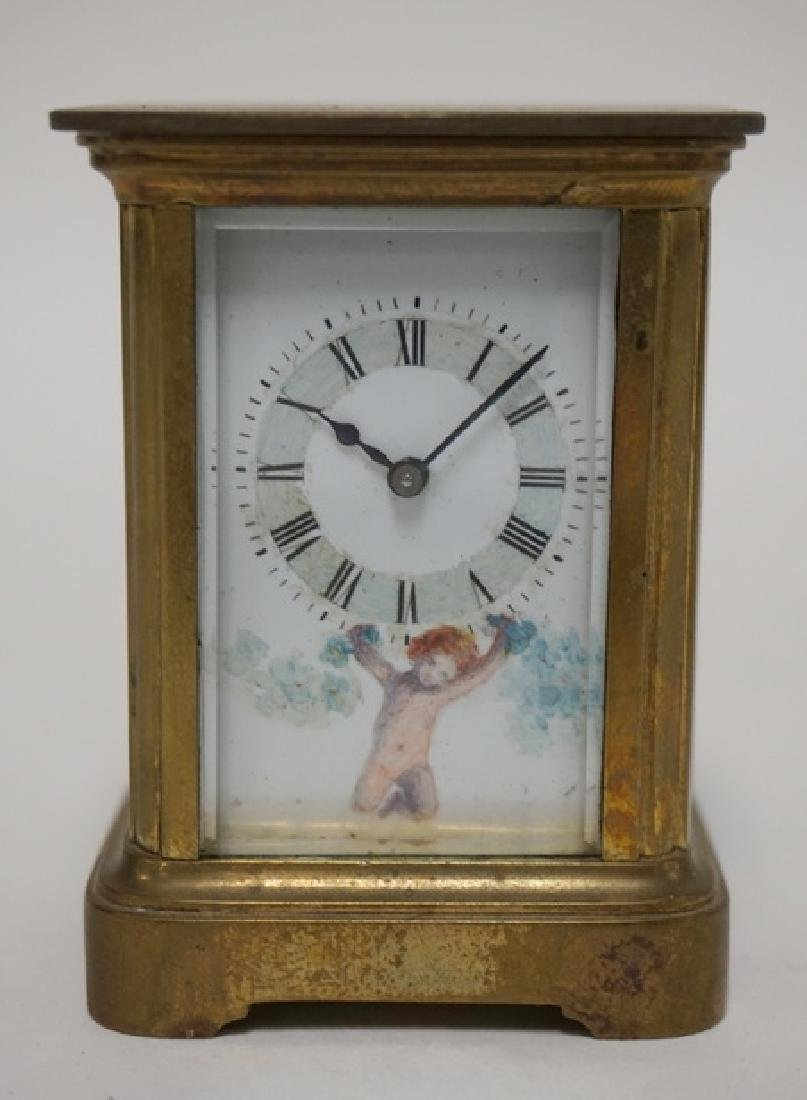 MINIATURE BRASS CARRIAGE CLOCK WITH HAND PAINTED CHERUB - 2