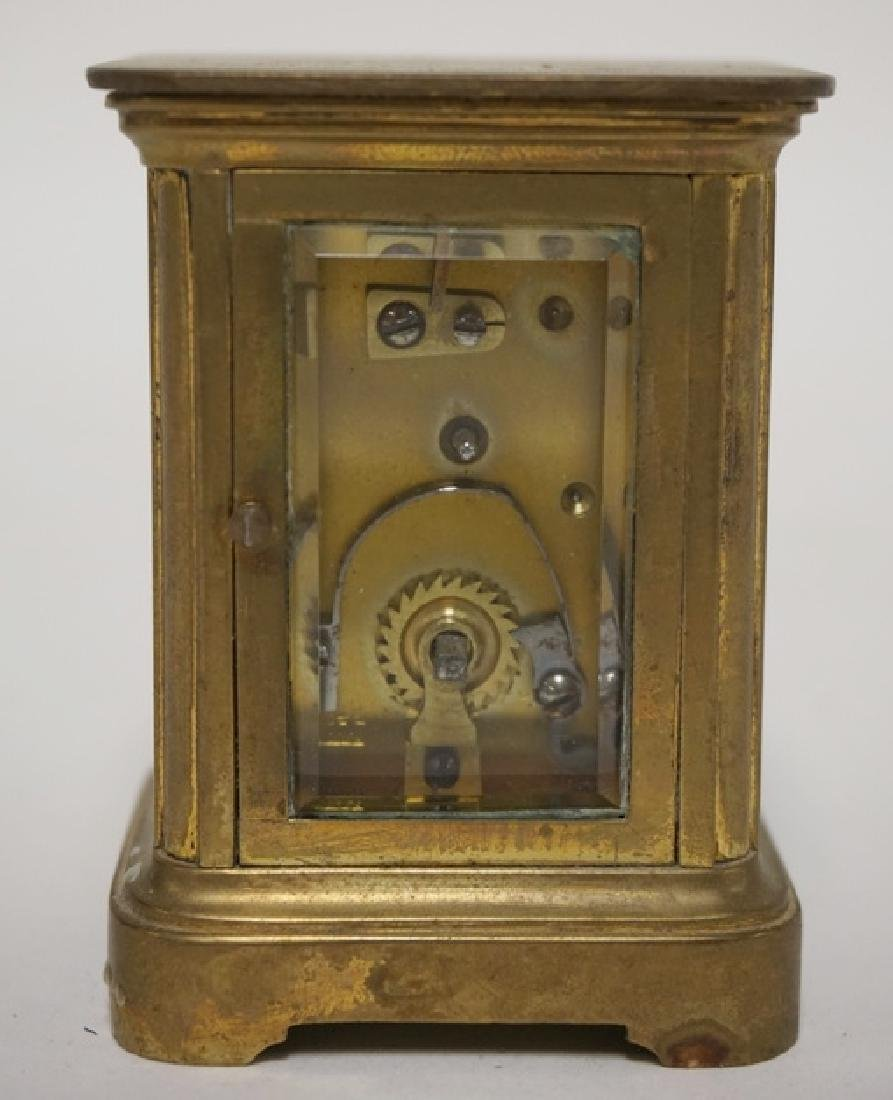 MINIATURE BRASS CARRIAGE CLOCK WITH HAND PAINTED CHERUB - 3