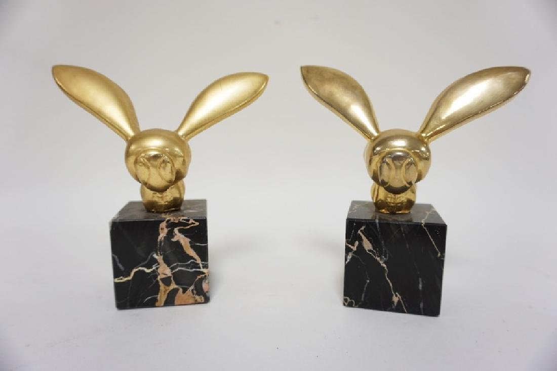 PAIR OF G. LACHAISE BRASS BUMBLEBEES ON BLACK MARBLE
