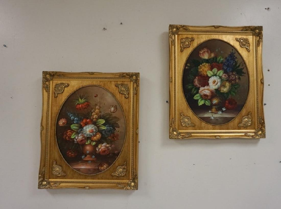 PAIR OF O/C FLORAL STILL LIFE PAINTINGS IN MATCHING
