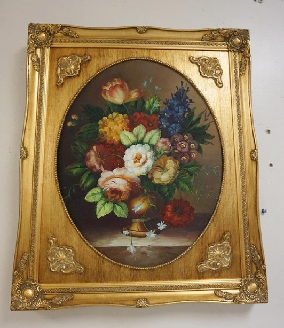 PAIR OF O/C FLORAL STILL LIFE PAINTINGS IN MATCHING - 3