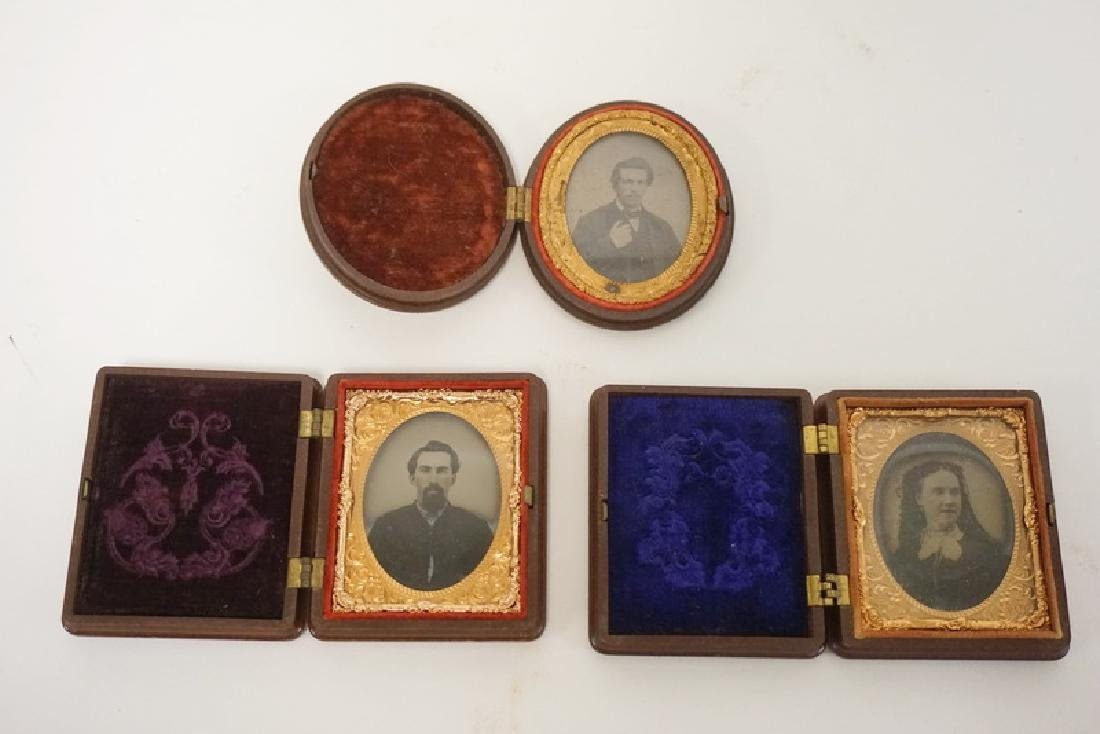 GROUP OF 3 SMALL HARD CASED IMAGES, 2 GENTLEMEN AND A