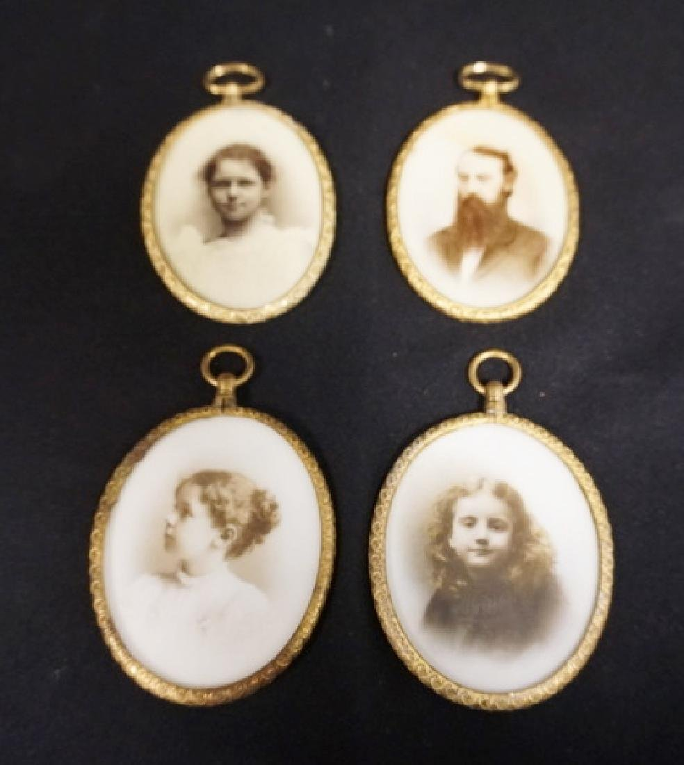 GROUP OF 4 OPALOTYPE PORTRAITS IN BRASS FRAMES. 2 1/2