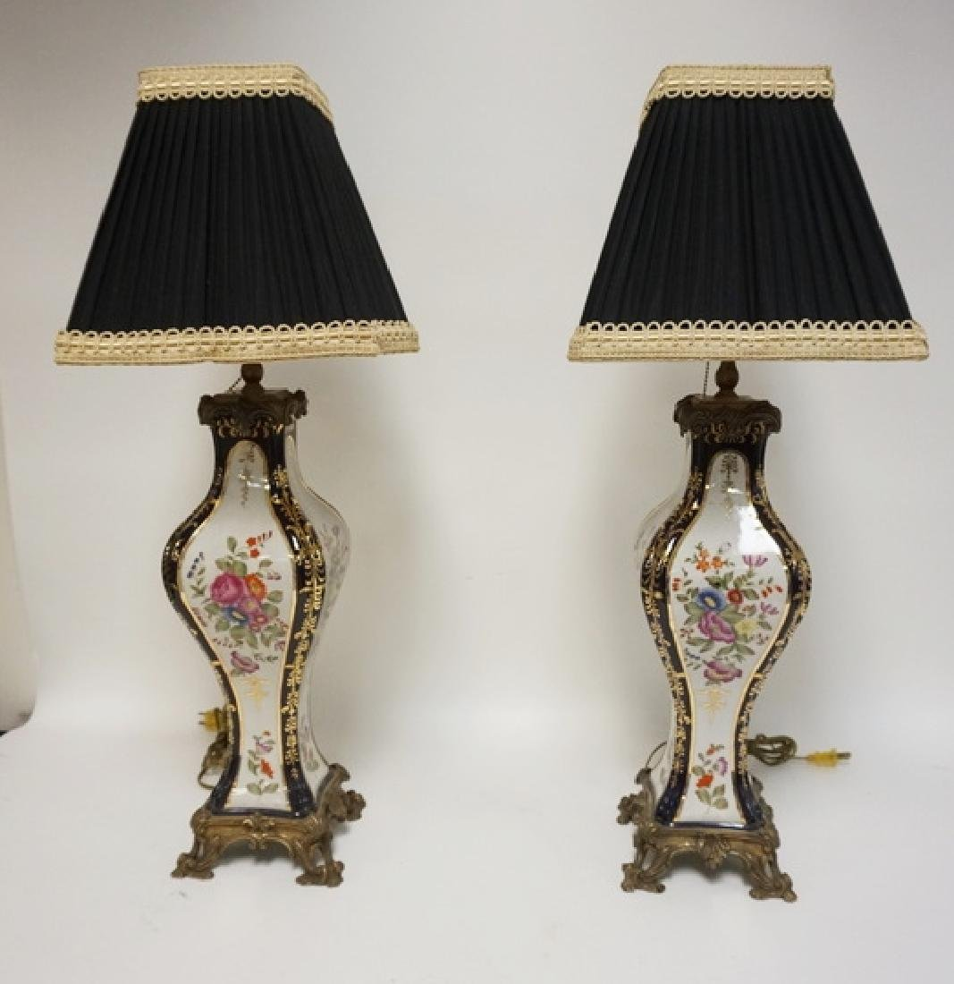 PAIR OF HAND PAINTED FLORAL TABLE LAMPS WITH COBALT