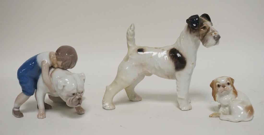 GROUP OF 3 B&G, DENMARK PORCELAIN FIGURES- 2 DOGS AND A
