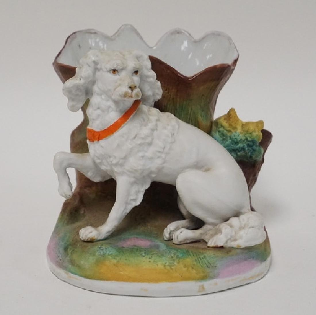 HAND PAINTED BISQUE SMOKING STAND W/DOG. PROBABLY
