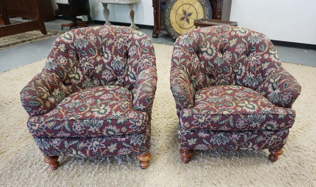 PAIR OF UPHOLSTERED ARM CHAIRS WITH TUFTED BACKS,