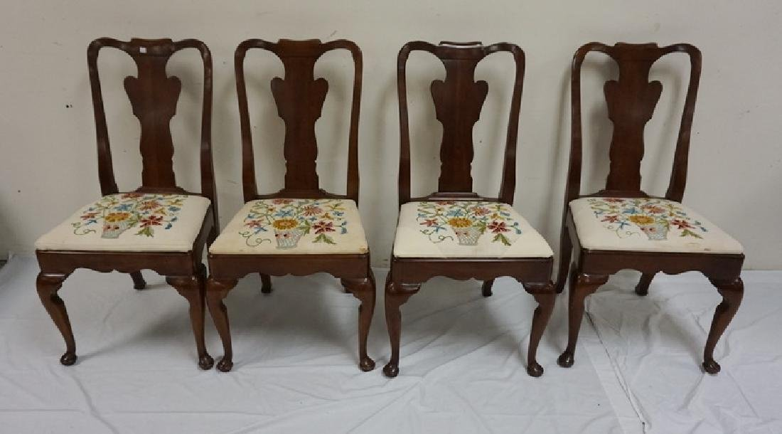 SET OF 4 STATTON CHERRY DINING CHAIRS. SEAT UPHOLSTERY