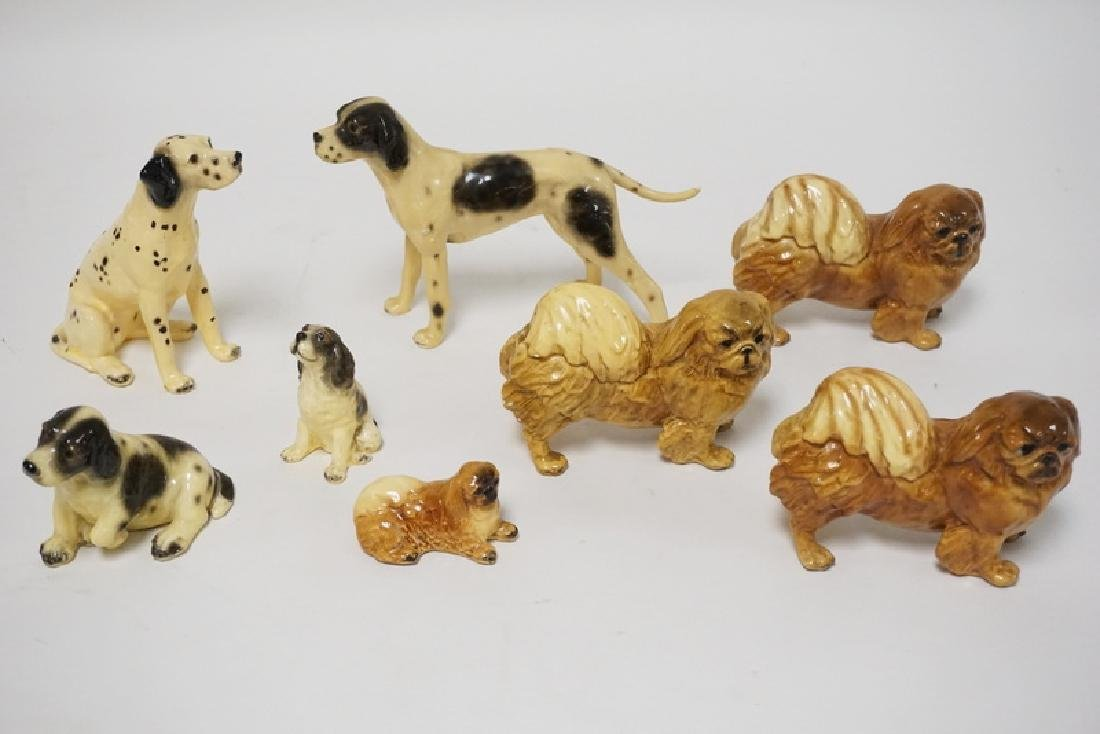 GROUP OF 8 MORTON STUDIO DOGS. TALLEST 5 IN