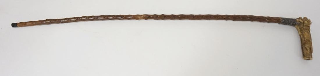VICTORIAN WALKING STICK WITH A CARVED BONE HANDLE - 3