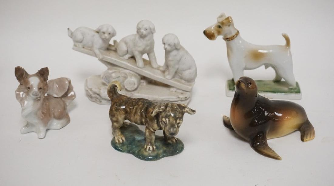 GROUP OF 5 ANIMAL FIGURES, 4 GLAZED, ONE BISQUE.