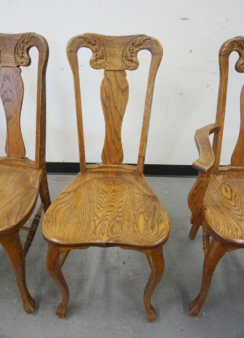 SET OF 6 CARVED OAK CHAIRS. 2 ARM AND 4 SIDE - 3