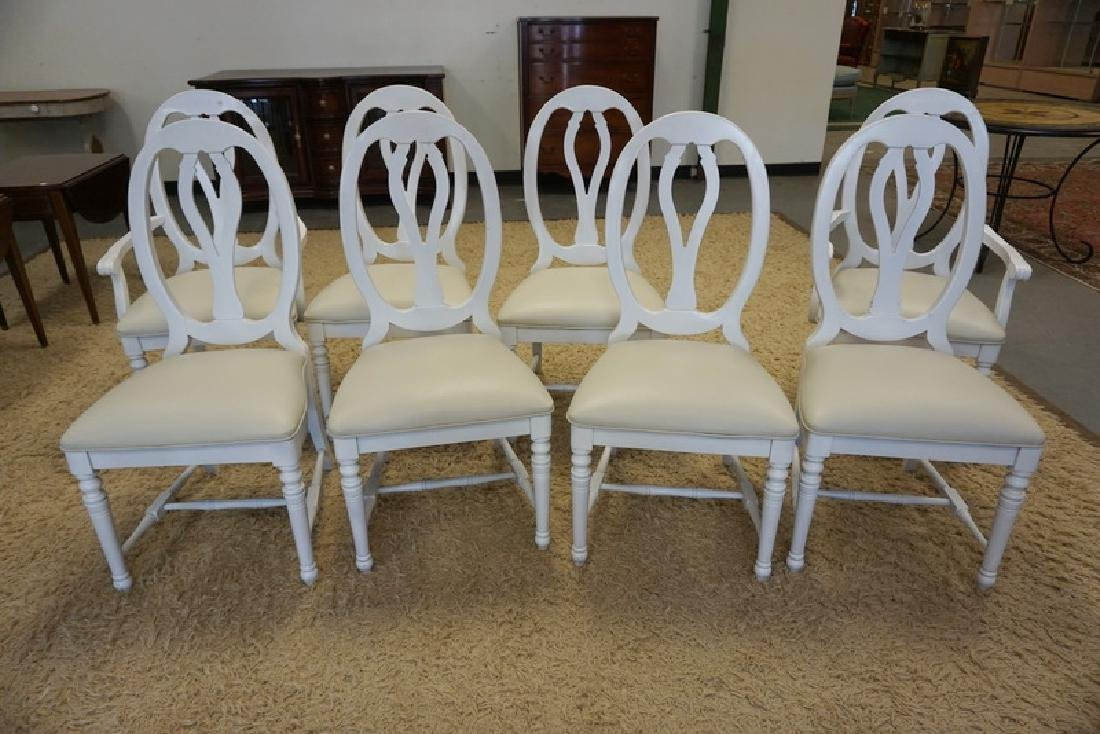 SET OF 8 DINING CHAIRS, PAINTED WHITE.