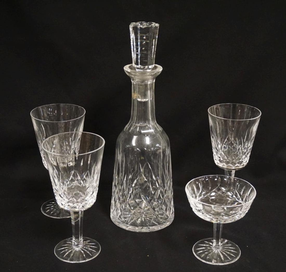 5 PC WATERFORD LINSMORE- DECANTERN 3 GOBLETS AND A