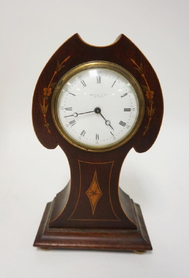 INLAID MAHOGANY ART NOUVEAU CLOCK FROM MACEYS NY 5 3/4