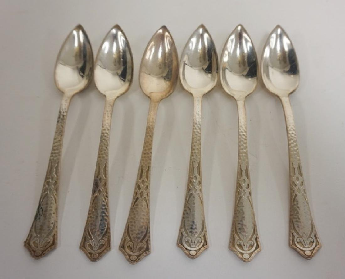 SET OF 6 ARTS AND CRAFTS STYLE STERLING SILVER