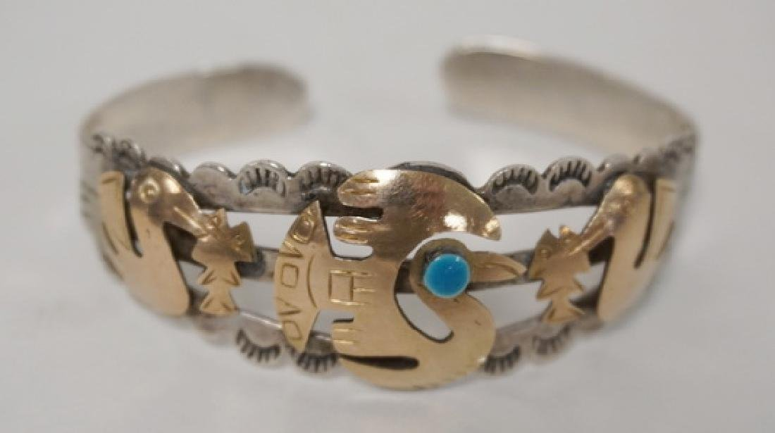 MEXICAN STERLING SILVER AND 18K GOLD BANGLE BRACELET