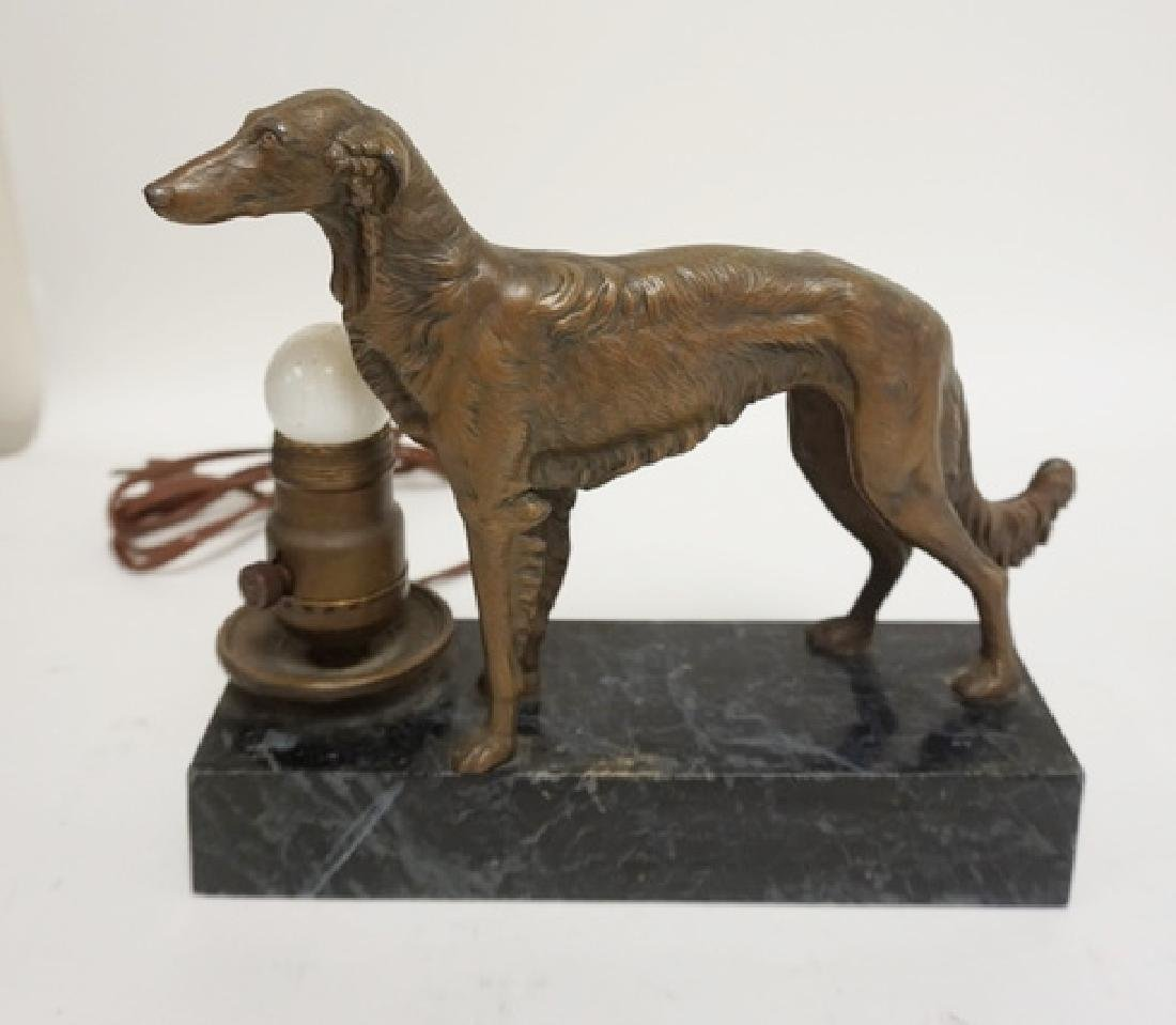 FIGURAL LAMP- METAL RUSSIAN WOLFHOUND ON A BLACK MARBLE