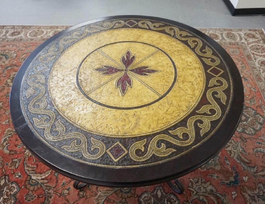 ROUND TABLE HAVING A TOOLED AND COLORED LEATHER TOP AND - 2