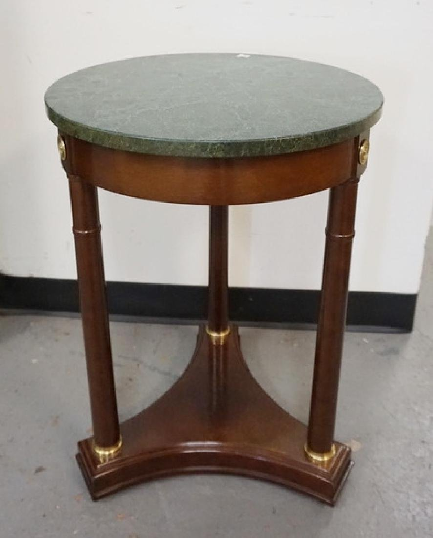 ROUND MARBLE TOP STAND MEASURING 25 1/2 INCHES HIGH. 18