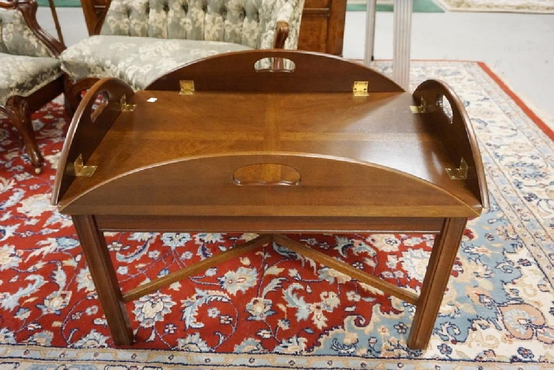 MAHOGANY BUTLERS TABLE WITH CHIPPENDALE LEGS.
