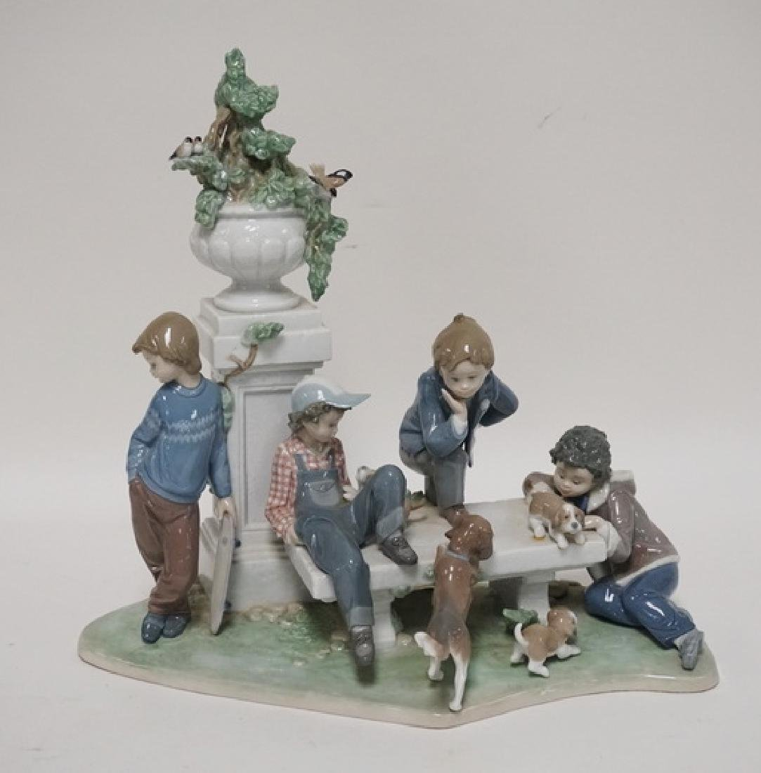 LLADRO *PUPPY DOG TAILS* PORCELAIN FIGURAL GROUP. 14
