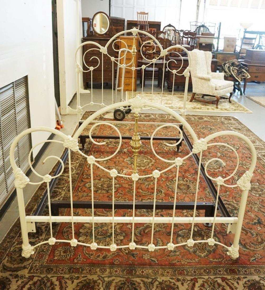 IRON & BRASS FULL SIZE BED IN A WHITE FINISH.