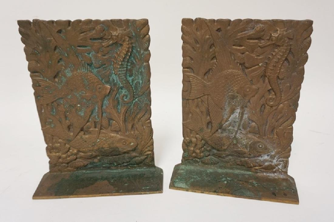 PAIR OF BRONZE BOOKENDS WITH FISH AND SEAHORSES. 6 3/4