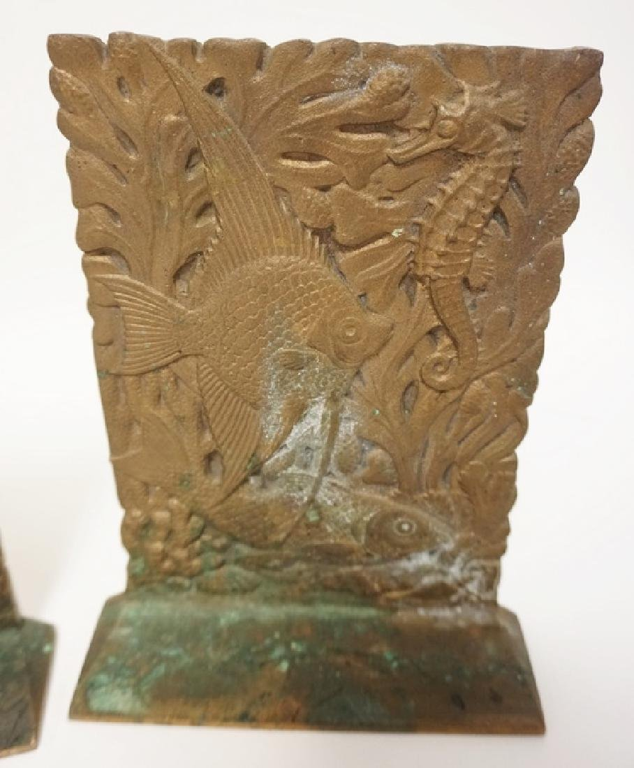 PAIR OF BRONZE BOOKENDS WITH FISH AND SEAHORSES. 6 3/4 - 2