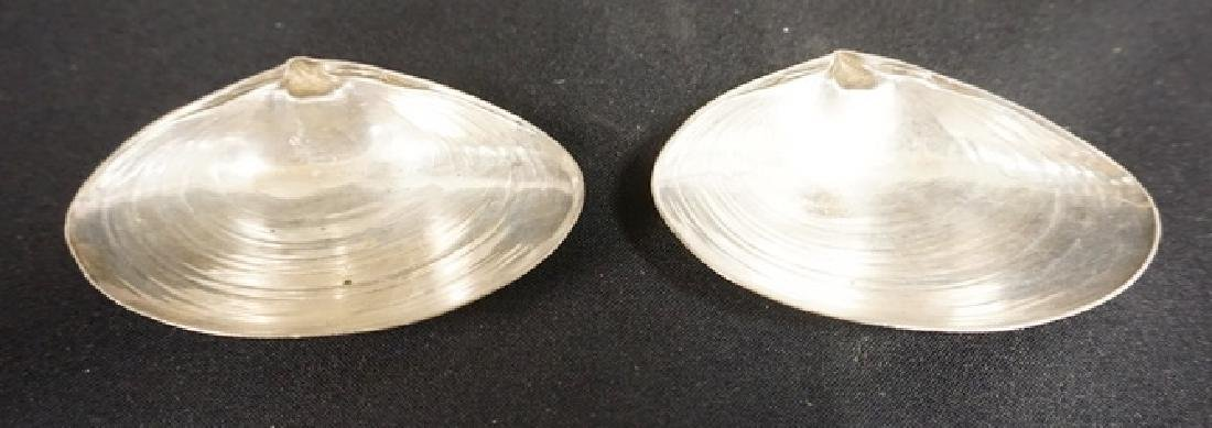 PAIR OF WALLACE STERLING SILVER CLAM SHELL DISHES,